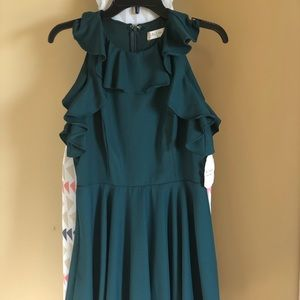 Dark green fit and flare flirty dress